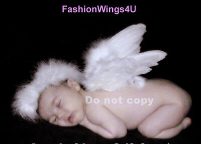 FashionWings (TM) Newborn Baby White Feather Angel Wings, Halo & Poster Set