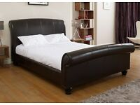 Dreams Treviso King Size Bed, Brown Bonded Leather