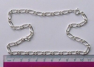 """10 x 16"""" silver plated complete figaro necklace chains"""