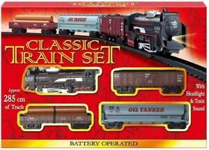 Classic Train Set Tracks Toy Battery Operated Tanker Carriage Engine Light Sound