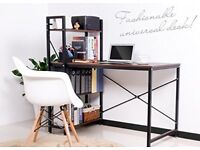 Brown computer desk with shelves