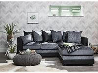Dylan Corner Sofa In Black & Grey or Brown & Beige, Matching Footstool, Swivel or 2+3 Seater