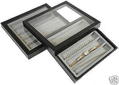 2-5 Slot Acrylic Lid Jewelry Display Case Black Watch