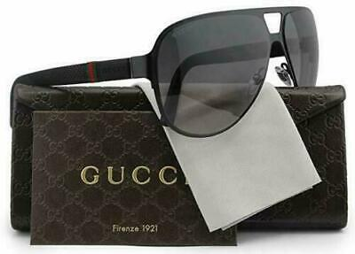 ✅ Gucci Men's Sunglasses GG2252 M7A Black Matte/Grey Lens Aviator 62mm Authentic