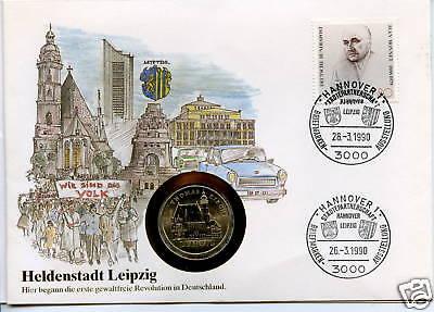 Numisbrief DDR: Heldenstadt Leipzig 1990