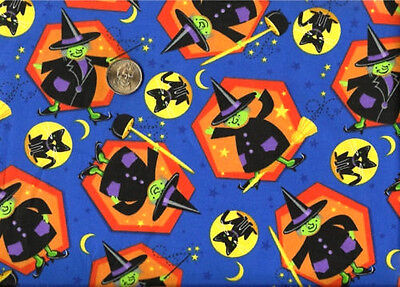Halloween Witch Black Cat Yellow Moon Stars on Blue Cotton Fabric  BTY - Stars Halloween