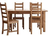 Solid Wood Ikea Dining Room Table and Six Chairs, Excellent Condition.