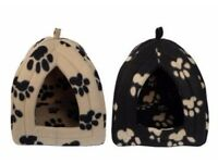 Brown with caramel print, Igloo Pet Bed for Cats or Toy Breed Dogs