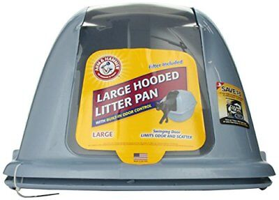 Arm & Hammer Hooded Cat Pan/Litter Box Large Pearl Ash Blue