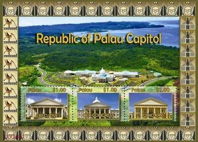 Republic of Palau Capitol Sheet of 3 stamps MNH