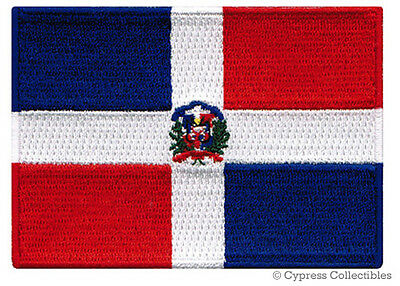 DOMINICAN REPUBLIC FLAG embroidered iron-on PATCH CARIBBEAN EMBLEM applique