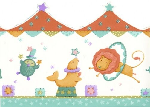Big Top Circus Carnival Animals Childs Wallpaper Border 10 yds Kidsline Retired
