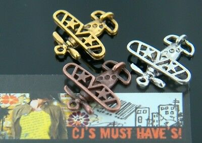 SALE BUY 10 + 10 FREE GOLD AEROPLANE AIRCRAFT AVIATION Pendant Charm STEAM PUNK