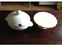 White soup bowl/ tureen and cake stand