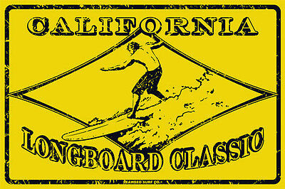 California Vintage Surf Sign - California Longboard Classic Vintage Surf Competition Metal Sign Wall Art 12x18