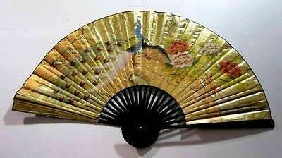 24'' Chinese Oriental Peacock Handpainted Folding Paper Wall Hanging Fan Decor