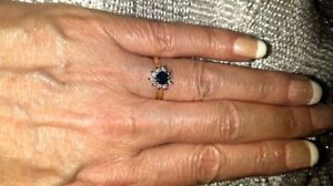BRAND NEW HEART SHAPED SAPPHIRES AND DIAMONDS 14KT WG RING