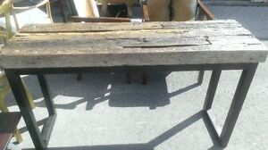 console table reclaimed railway ties and iron