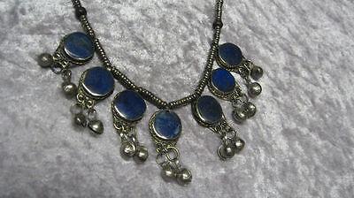 Genuine Afghan lapis lazuli jewelry necklace-ROUND DANGLES-GULCICEK