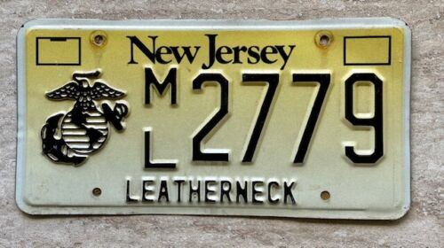 New Jersey License Plate # M L 2779 LEATHERNECK Marine Corps Graphic RARE!