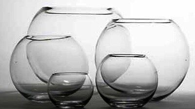 "8 X 5"" OASIS GLASS FISH BUBBLE BOWL WEDDING TABLE CENTREPIECE CLEAR VASE (41233)"
