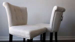 Cream Linen Dining / Accent Chairs with Chrome Detail