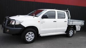 2013 Toyota Hilux KUN26R MY12 SR (4x4) White 5 Speed Manual Dual Cab Chassis Moorabbin Kingston Area Preview
