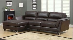 SECTIONAL SOFA IN BROWN BONDED LEATHER WITH CHROME FEET