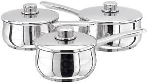 Stellar 1000 3 Piece Saucepan Set - Stainless Steel -  Suitable for Aga Rayburn