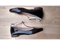 CLARKS LADIES FESTIVAL GLEE BLACK PATENT LEATHER SHOES SIZE UK 9 D new in box