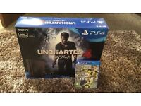 Playstation 4 Slim Console 500GB Jet Black With Uncharted 4 and FIFA 17 - BRAND NEW SEALED