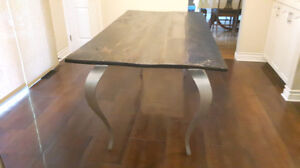 Vintage retro reclaimed funky barn board dining table metal legs