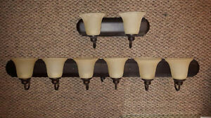 NICE WALL MOUNT LIGHT FIXTURES, FAUX RUBBED BRONZE FINISH