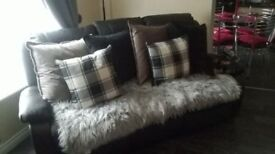 Black leather 3seater recliner sofa