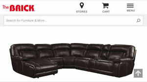 7 piece genuine chocolate brown sectional