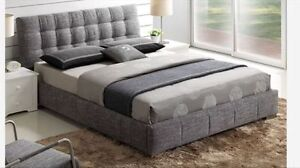 QUEEN BED IN GREY FABRIC WITH SPRING SLATS INCLUED &CHROME FEET