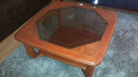 Inlaid glass (slightly tinted) coffee table