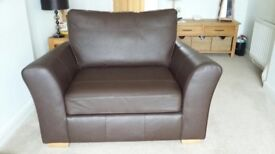 Sofa/Armchair in Plain Chocolate Leather Seats 1 to 2 - Immaculate Condition