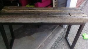 rustic console table / tv table old railway ties and iron