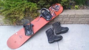 Snowboard, bindings and boots (size 5)