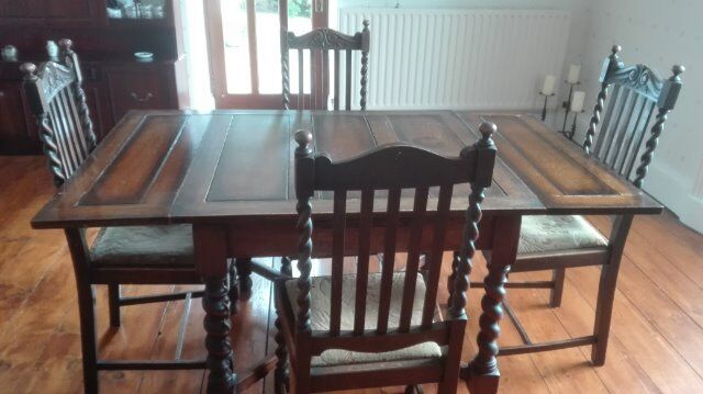Oak Barley Twist Dining Table 4 Chairs Circa 1930s ABSOLUTE BARGAIN