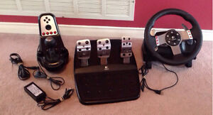Logitech G27 Racing Wheel, pedals, Shifter cables PS3 & PC