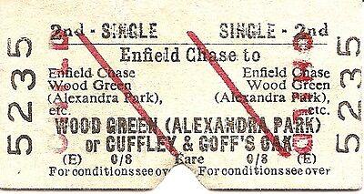 B.R.B. Edmondson Ticket - Enfield Chase to Wood Green or Cuffley & Goff's Oak