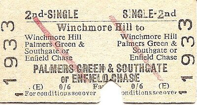 B.R.B. Edmondson Ticket - Winchmore Hill to Palmers Gn & Southgate or Enfield Ch