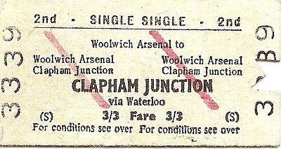 B.R.B. Edmondson Ticket - Woolwich Arsenal to Clapham Junction