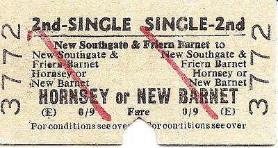 B.R.B. Edmondson Ticket - New Southgate & Friern Barnet to Hornsey or New Barnet