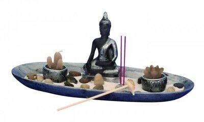 Buddha Figur Set Zen Garten 34cm Räucherstäbchenhalter Feng Shui Asien