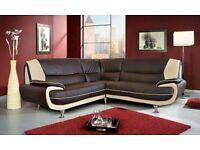 Brand new brown leather corner sofa