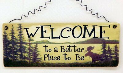 WELCOME TO A BETTER PLACE TO BE RUSTIC WOOD WALL SIGN BRAND NEW FREE
