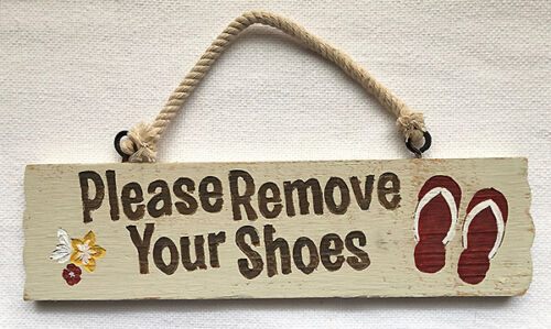 Hawaiian Vintage Style Wooden Wall Sign Remove Your Shoes Island Home Bar Decor